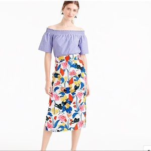 J. Crew Pintucked Midi Skirt in Morning Flora